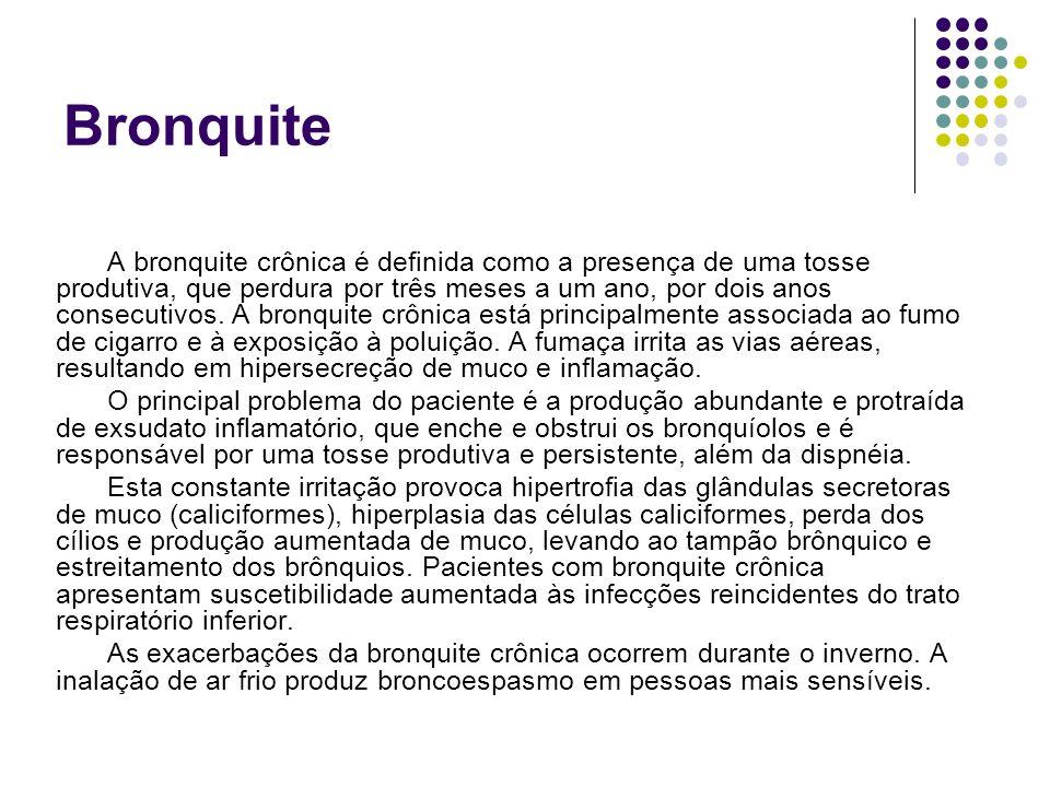 Bronquite A bronquite crônica é definida como a presença de uma tosse produtiva, que perdura por três meses a um ano, por dois anos consecutivos. A br