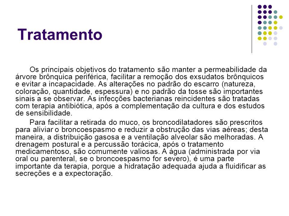Tratamento Os principais objetivos do tratamento são manter a permeabilidade da árvore brônquica periférica, facilitar a remoção dos exsudatos brônqui
