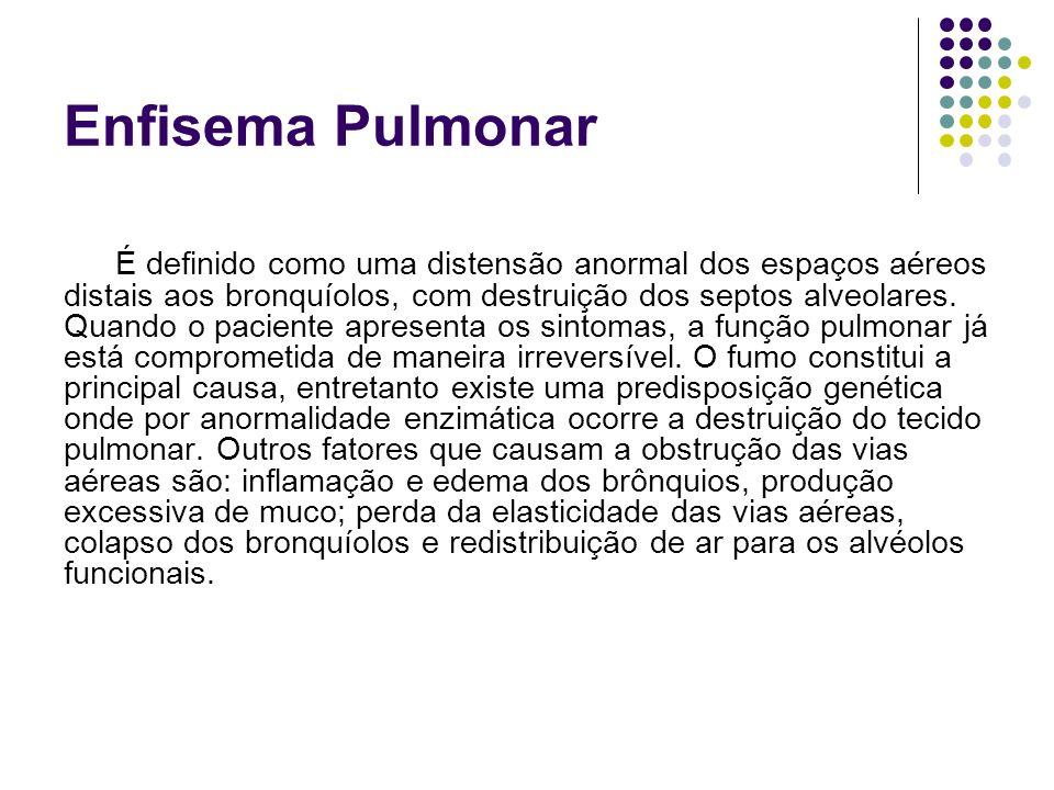 Enfisema Pulmonar É definido como uma distensão anormal dos espaços aéreos distais aos bronquíolos, com destruição dos septos alveolares. Quando o pac