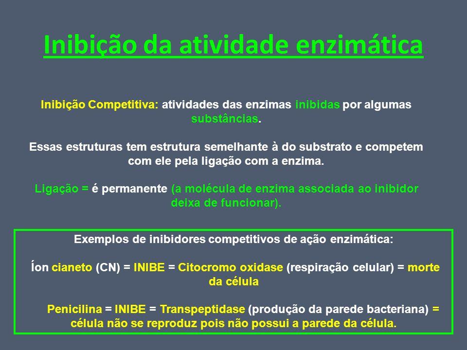 Inibição da atividade enzimática Inibição Competitiva: atividades das enzimas inibidas por algumas substâncias. Essas estruturas tem estrutura semelha