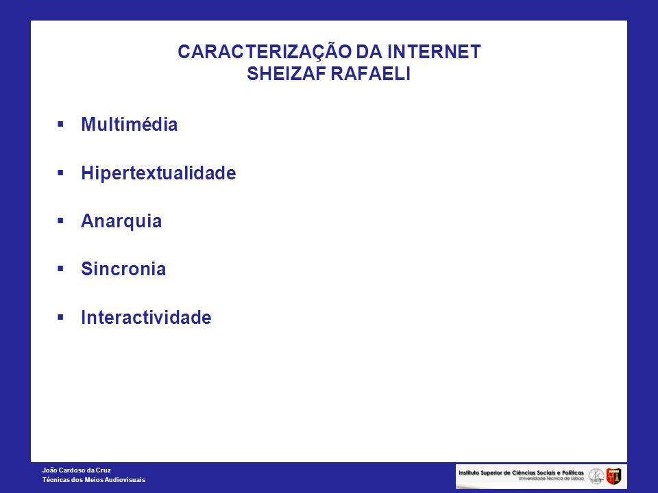 João Cardoso da Cruz Técnicas dos Meios Audiovisuais CARACTERIZAÇÃO DA INTERNET SHEIZAF RAFAELI Multimédia Hipertextualidade Anarquia Sincronia Intera
