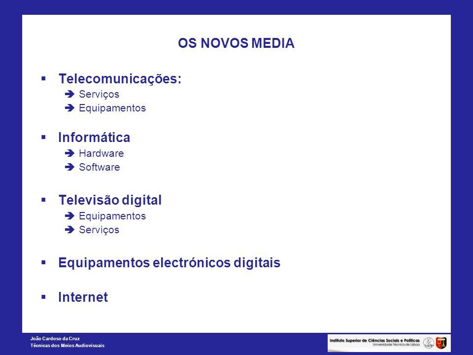 João Cardoso da Cruz Técnicas dos Meios Audiovisuais OS NOVOS MEDIA Telecomunicações: Serviços Equipamentos Informática Hardware Software Televisão di