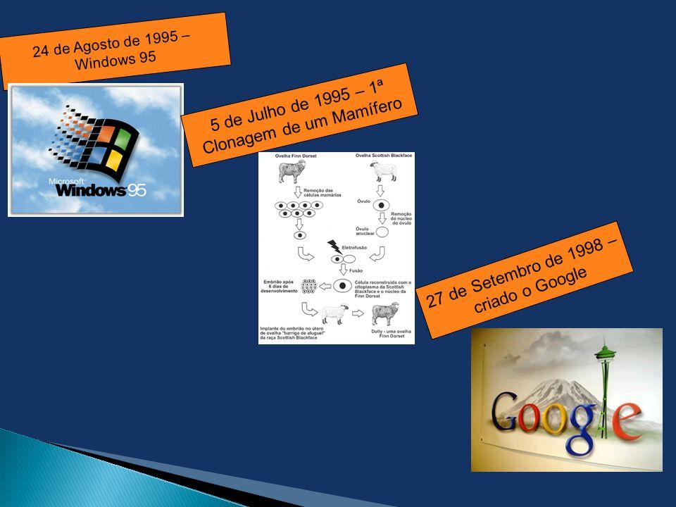 24 de Agosto de 1995 – Windows 95 5 de Julho de 1995 – 1ª Clonagem de um Mamífero 27 de Setembro de 1998 – criado o Google