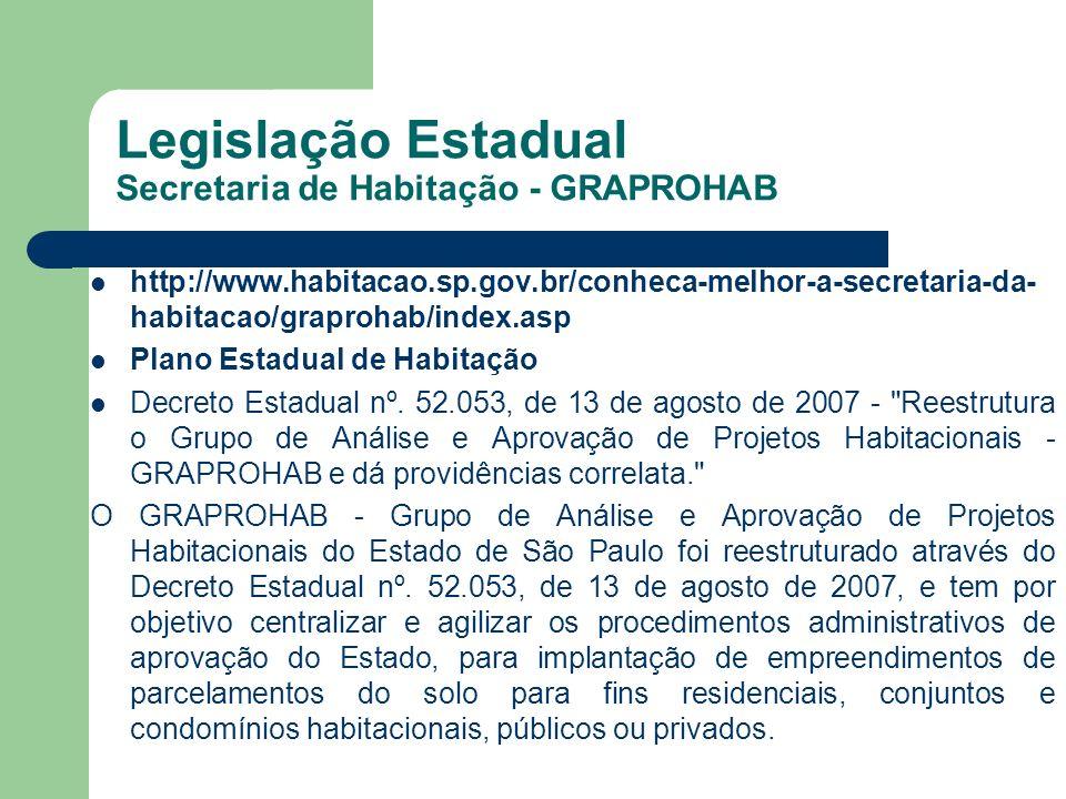 Legislação Estadual Secretaria de Habitação - GRAPROHAB http://www.habitacao.sp.gov.br/conheca-melhor-a-secretaria-da- habitacao/graprohab/index.asp P
