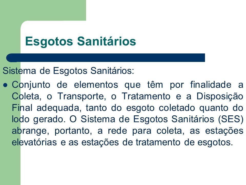 Esgotos Sanitários Sistema de Esgotos Sanitários: Conjunto de elementos que têm por finalidade a Coleta, o Transporte, o Tratamento e a Disposição Fin