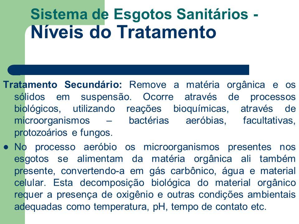 Sistema de Esgotos Sanitários - Níveis do Tratamento Tratamento Secundário: Remove a matéria orgânica e os sólidos em suspensão. Ocorre através de pro