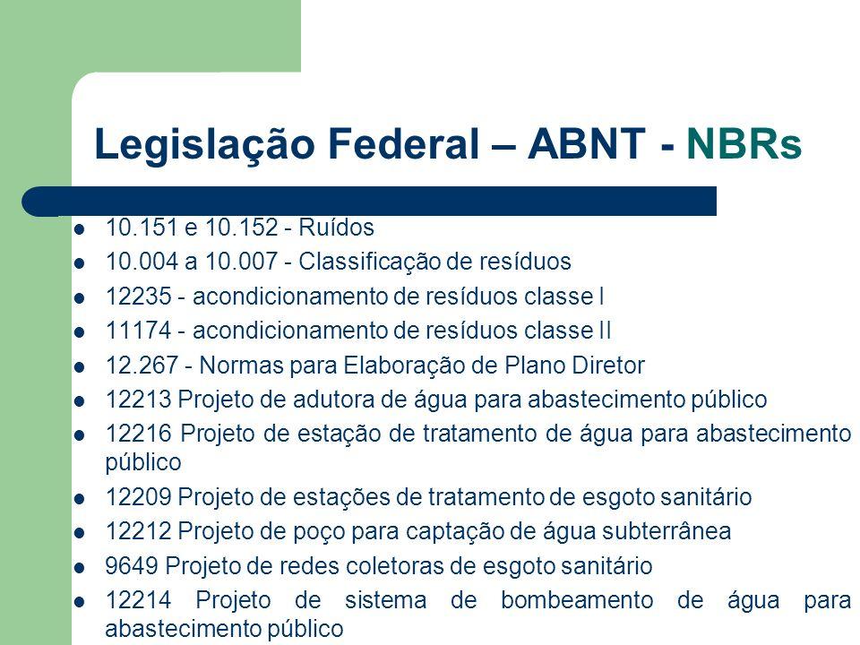 Legislação Federal – ABNT - NBRs 10.151 e 10.152 - Ruídos 10.004 a 10.007 - Classificação de resíduos 12235 - acondicionamento de resíduos classe I 11