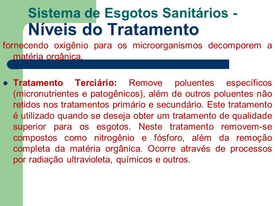 Sistema de Esgotos Sanitários - Níveis do Tratamento fornecendo oxigênio para os microorganismos decomporem a matéria orgânica. Tratamento Terciário: