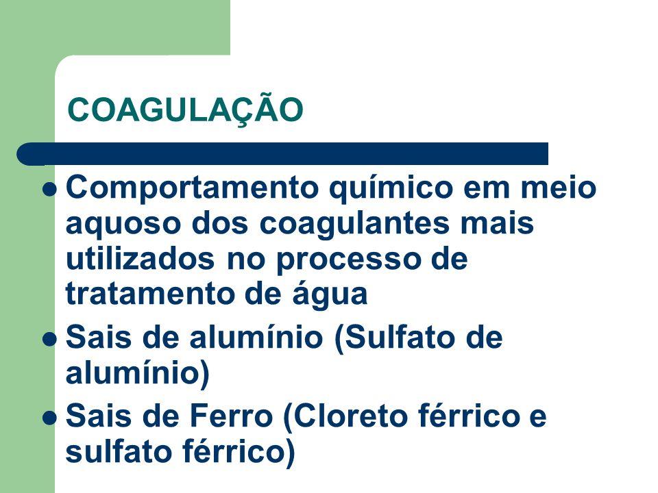 COAGULAÇÃO Comportamento químico em meio aquoso dos coagulantes mais utilizados no processo de tratamento de água Sais de alumínio (Sulfato de alumíni