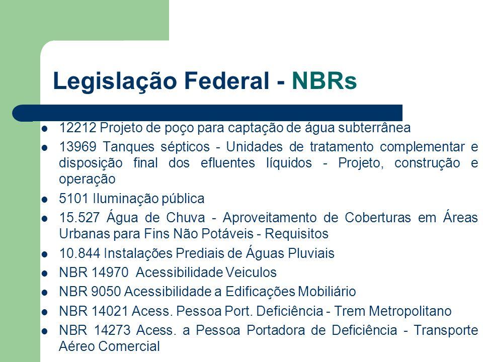 Legislação Federal - NBRs 12212 Projeto de poço para captação de água subterrânea 13969 Tanques sépticos - Unidades de tratamento complementar e dispo