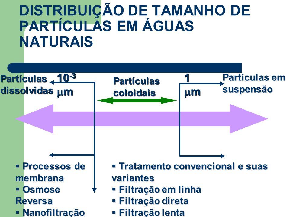 DISTRIBUIÇÃO DE TAMANHO DE PARTÍCULAS EM ÁGUAS NATURAIS 1 m 10 -3 m Partículascoloidais Partículas em suspensão Partículasdissolvidas Tratamento conve