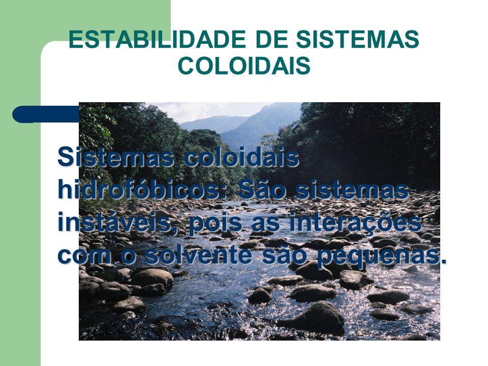 ESTABILIDADE DE SISTEMAS COLOIDAIS Sistemas coloidais hidrofóbicos: São sistemas instáveis, pois as interações com o solvente são pequenas.