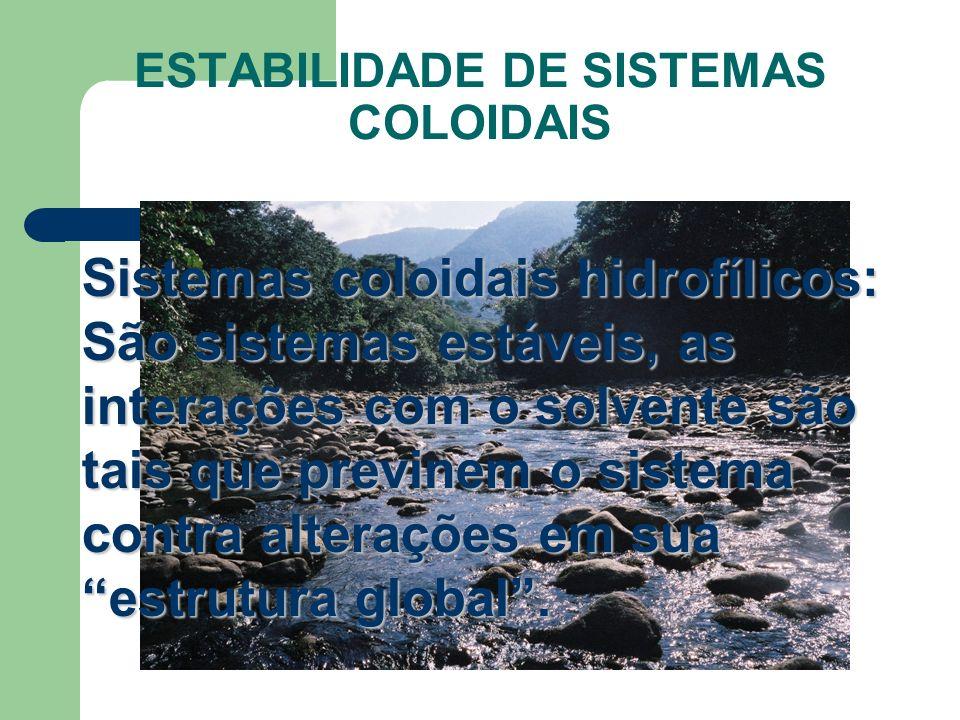 ESTABILIDADE DE SISTEMAS COLOIDAIS Sistemas coloidais hidrofílicos: São sistemas estáveis, as interações com o solvente são tais que previnem o sistem