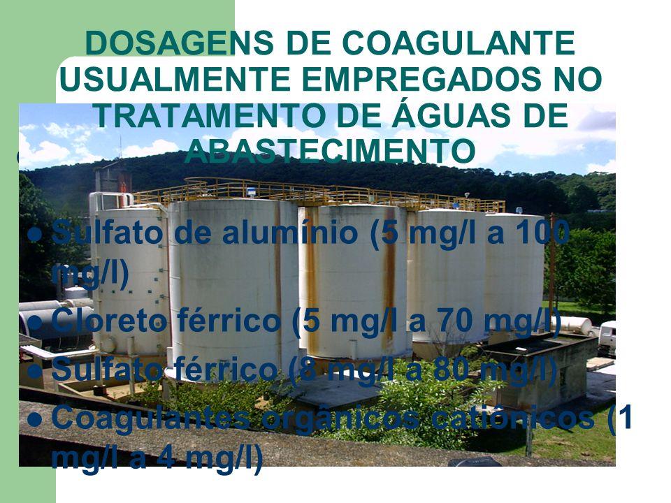 DOSAGENS DE COAGULANTE USUALMENTE EMPREGADOS NO TRATAMENTO DE ÁGUAS DE ABASTECIMENTO Sulfato de alumínio (5 mg/l a 100 mg/l) Cloreto férrico (5 mg/l a