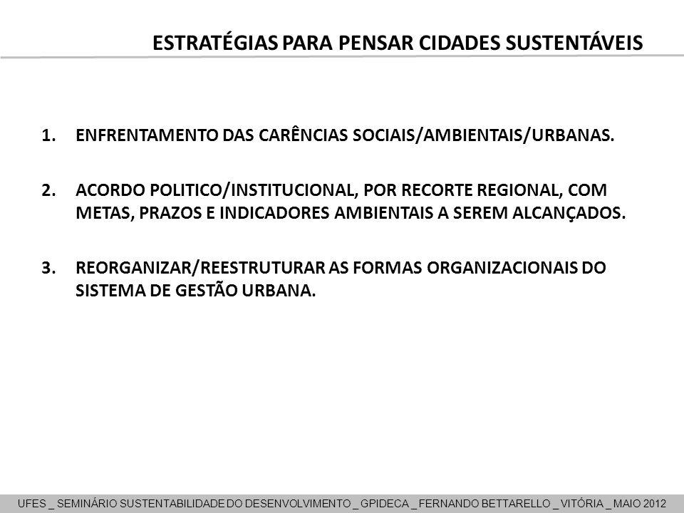 1.ENFRENTAMENTO DAS CARÊNCIAS SOCIAIS/AMBIENTAIS/URBANAS. 2.ACORDO POLITICO/INSTITUCIONAL, POR RECORTE REGIONAL, COM METAS, PRAZOS E INDICADORES AMBIE