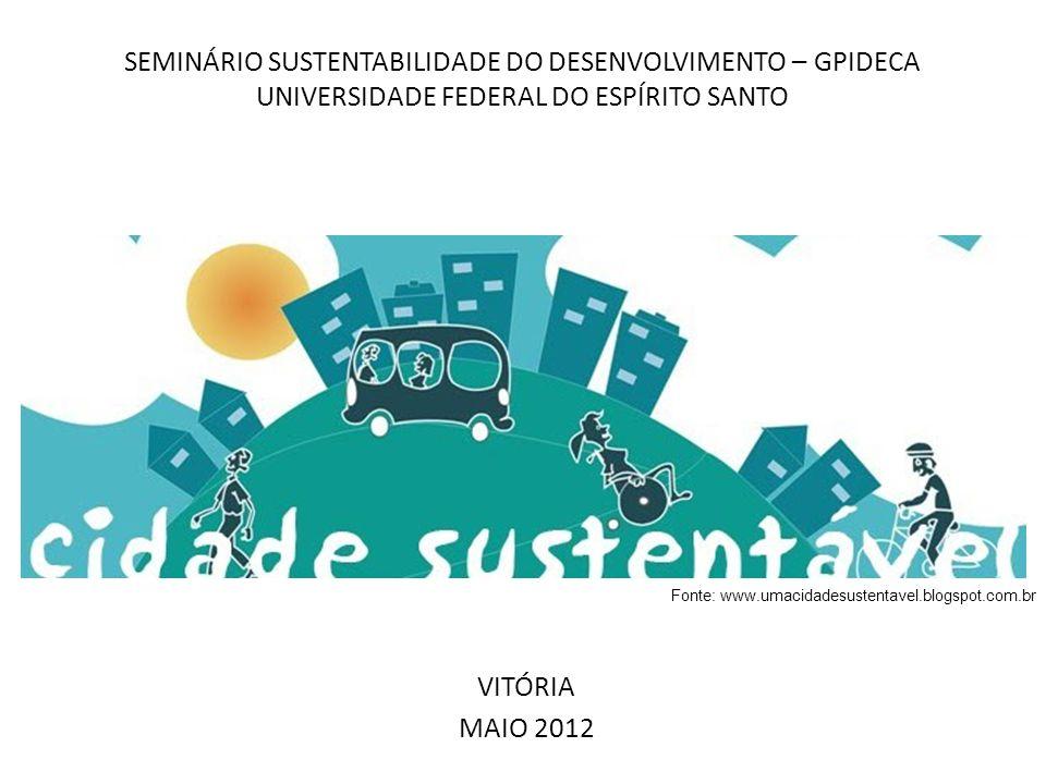 SEMINÁRIO SUSTENTABILIDADE DO DESENVOLVIMENTO – GPIDECA UNIVERSIDADE FEDERAL DO ESPÍRITO SANTO VITÓRIA MAIO 2012 Fonte: www.umacidadesustentavel.blogs