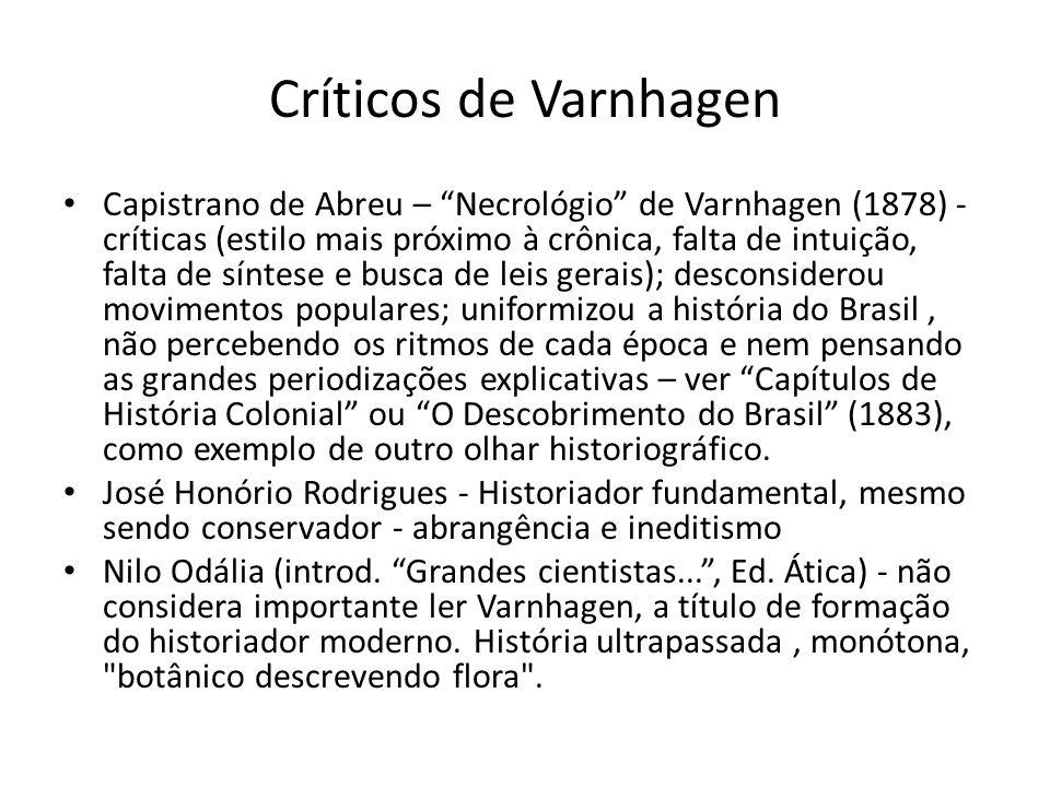 Críticos de Varnhagen Capistrano de Abreu – Necrológio de Varnhagen (1878) - críticas (estilo mais próximo à crônica, falta de intuição, falta de sínt