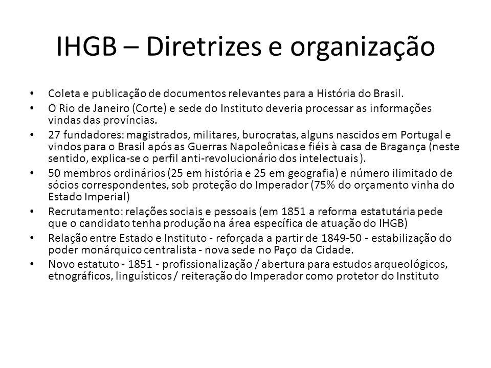 IHGB Tenta responder a um processo de consolidação do Estado Nacional de forma sistematizada, num momento em que a unidade está ameaçada (revoltas provinciais – regresso) Objetivo: garantir o perfil de uma nação brasileira, diante do quadro geral das nações ocidentais independentes.
