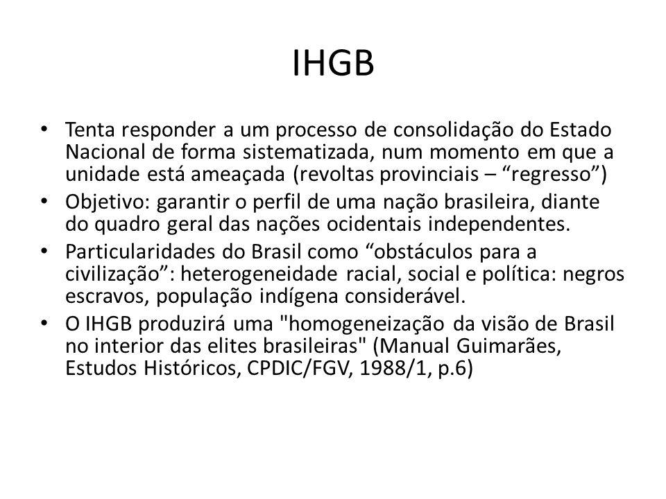 IHGB Tenta responder a um processo de consolidação do Estado Nacional de forma sistematizada, num momento em que a unidade está ameaçada (revoltas pro