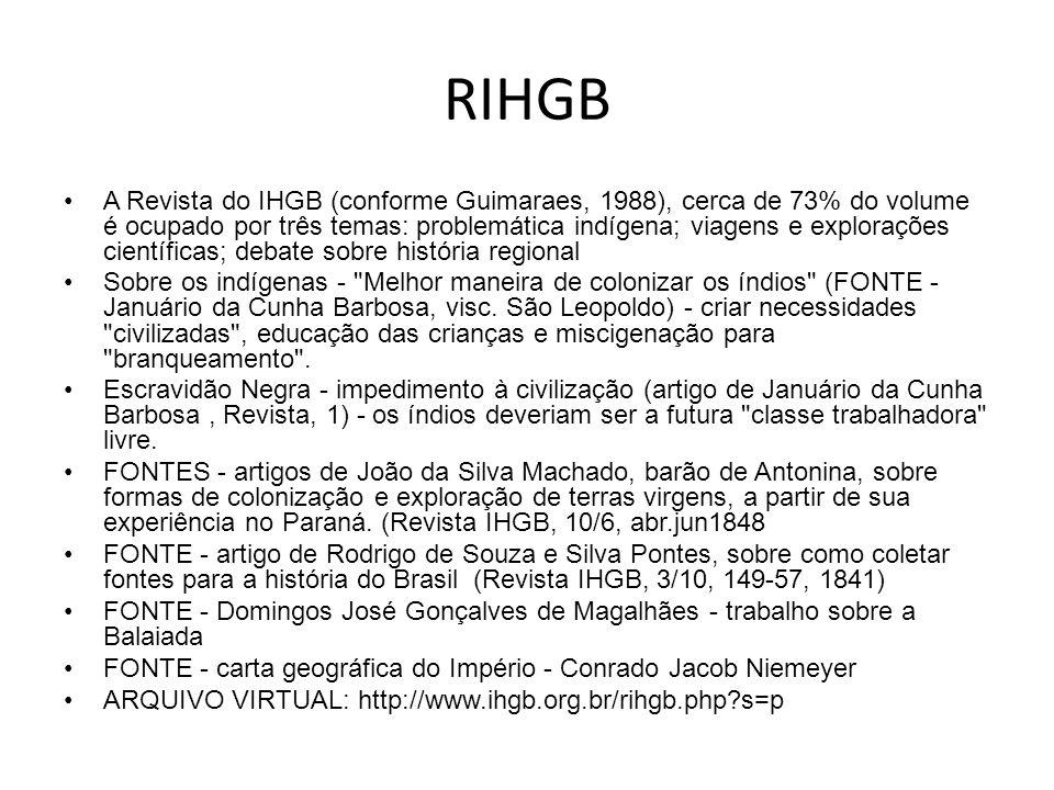 RIHGB A Revista do IHGB (conforme Guimaraes, 1988), cerca de 73% do volume é ocupado por três temas: problemática indígena; viagens e explorações cien