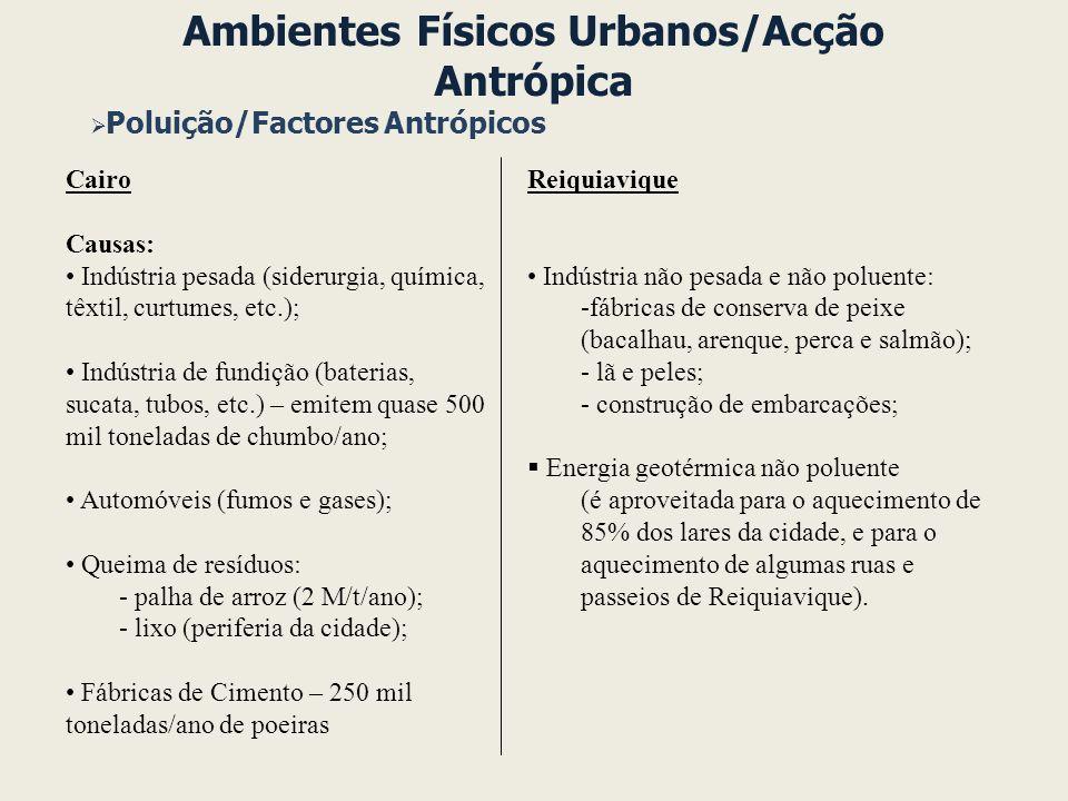 Ambientes Físicos Urbanos/Acção Antrópica Poluição/Factores Antrópicos Reiquiavique Indústria não pesada e não poluente: -fábricas de conserva de peix