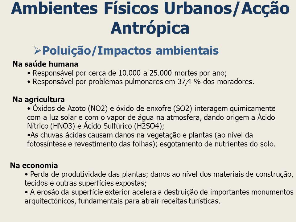 Ambientes Físicos Urbanos/Acção Antrópica Poluição/Impactos ambientais Na saúde humana Responsável por cerca de 10.000 a 25.000 mortes por ano; Respon