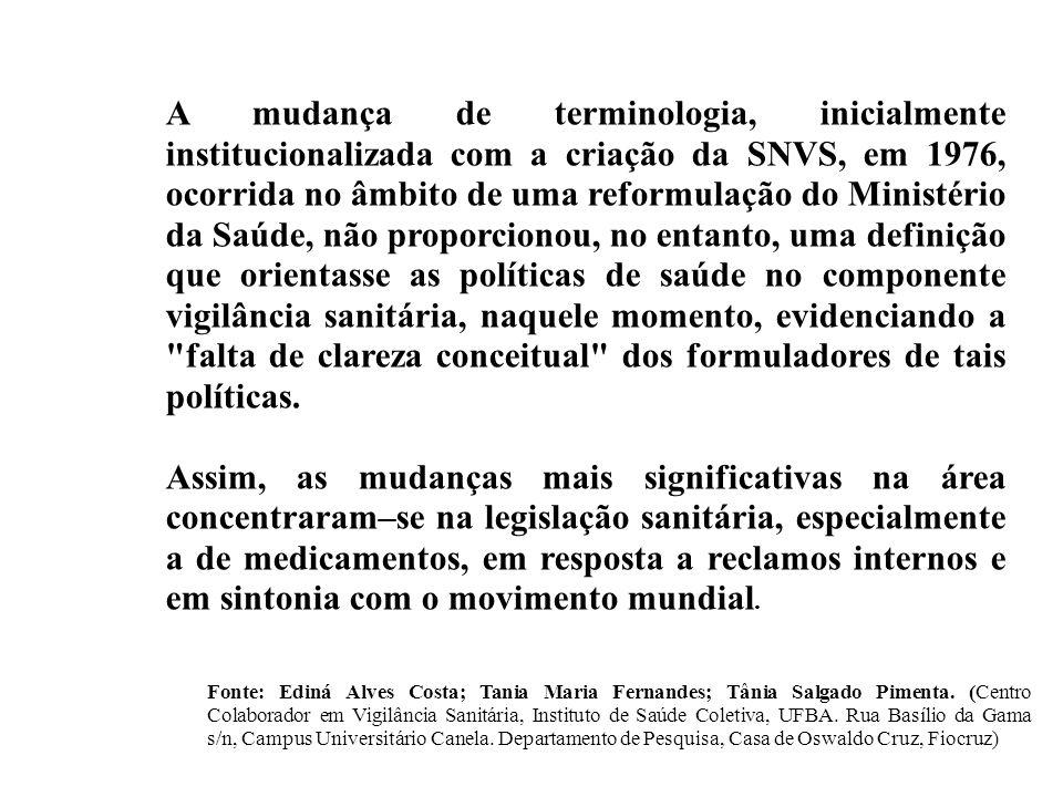 A mudança de terminologia, inicialmente institucionalizada com a criação da SNVS, em 1976, ocorrida no âmbito de uma reformulação do Ministério da Saú