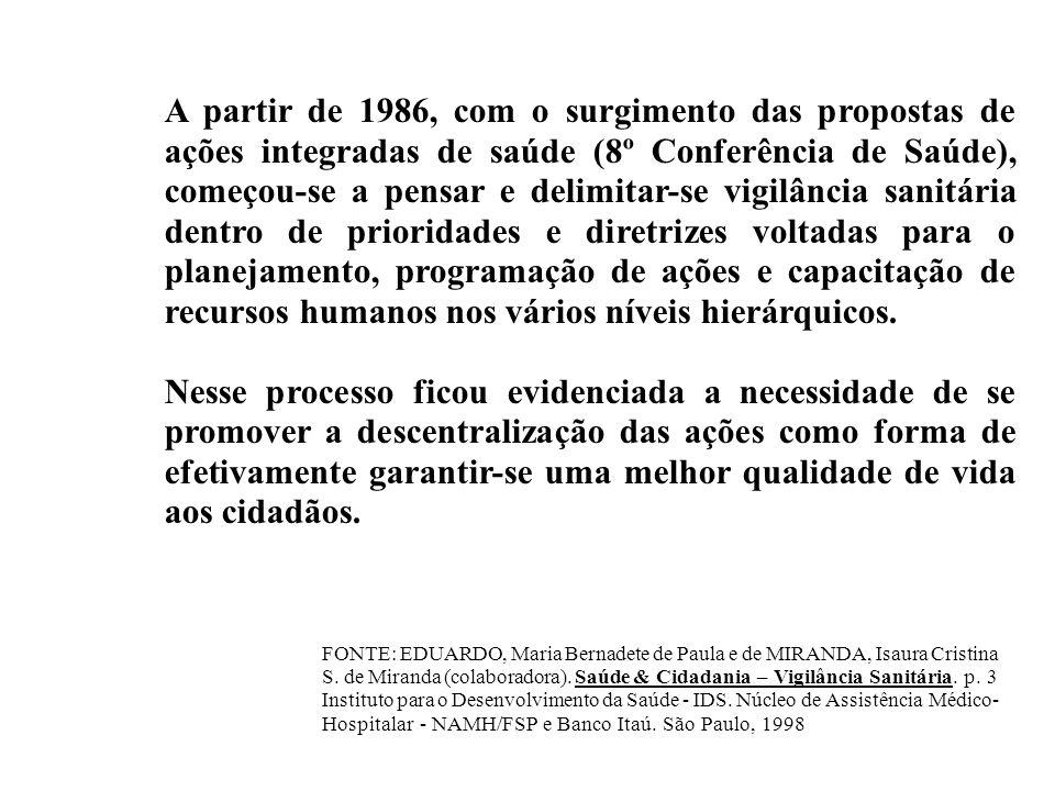 A partir de 1986, com o surgimento das propostas de ações integradas de saúde (8º Conferência de Saúde), começou-se a pensar e delimitar-se vigilância