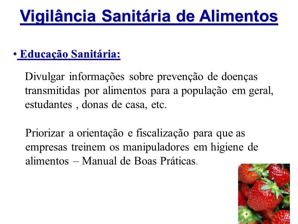 Vigilância Sanitária de Alimentos Educação Sanitária: Educação Sanitária: Divulgar informações sobre prevenção de doenças transmitidas por alimentos p