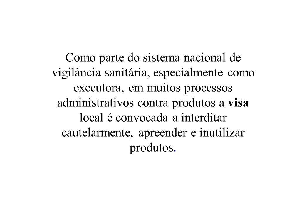 Como parte do sistema nacional de vigilância sanitária, especialmente como executora, em muitos processos administrativos contra produtos a visa local