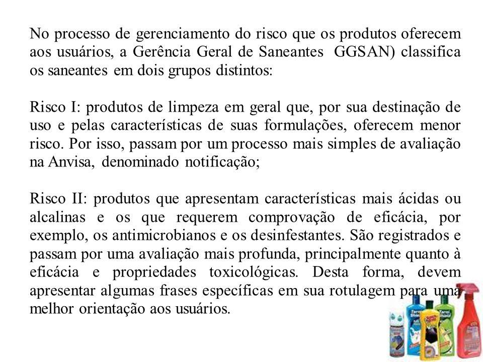 No processo de gerenciamento do risco que os produtos oferecem aos usuários, a Gerência Geral de Saneantes (GGSAN) classifica os saneantes em dois gru