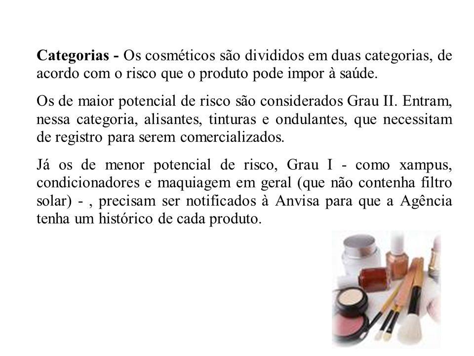 Categorias - Os cosméticos são divididos em duas categorias, de acordo com o risco que o produto pode impor à saúde. Os de maior potencial de risco sã