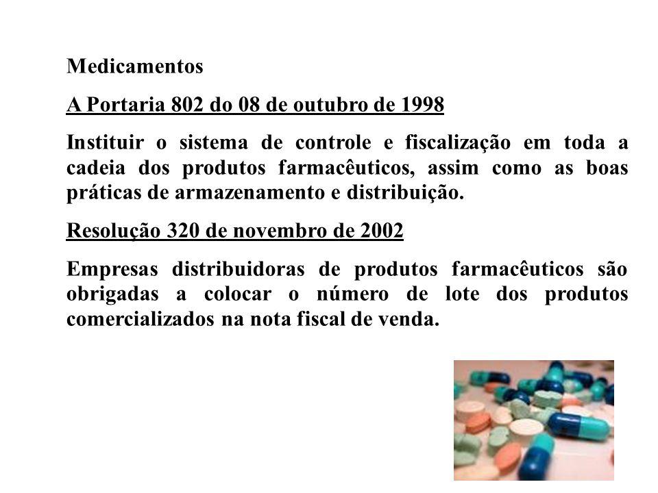 Medicamentos A Portaria 802 do 08 de outubro de 1998 Instituir o sistema de controle e fiscalização em toda a cadeia dos produtos farmacêuticos, assim