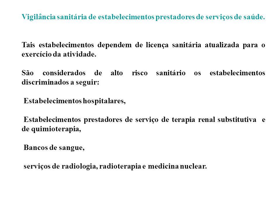 Vigilância sanitária de estabelecimentos prestadores de serviços de saúde. Tais estabelecimentos dependem de licença sanitária atualizada para o exerc