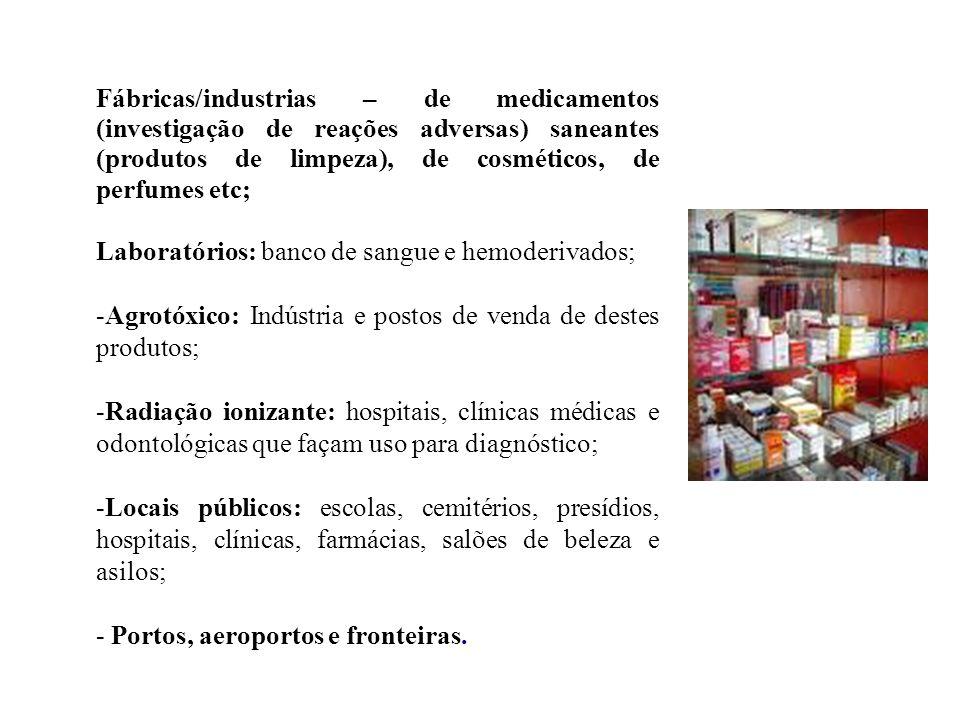 Fábricas/industrias – de medicamentos (investigação de reações adversas) saneantes (produtos de limpeza), de cosméticos, de perfumes etc; Laboratórios