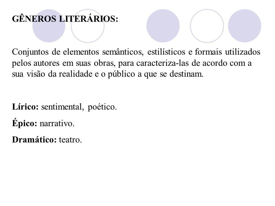 Escolas literárias: (ou estilos de época) Quinhentismo – (1500 – 1601) Barroco – (1601 – 1768) Arcadismo – (1768 – 1836) Romantismo – (1836 – 1881) Re