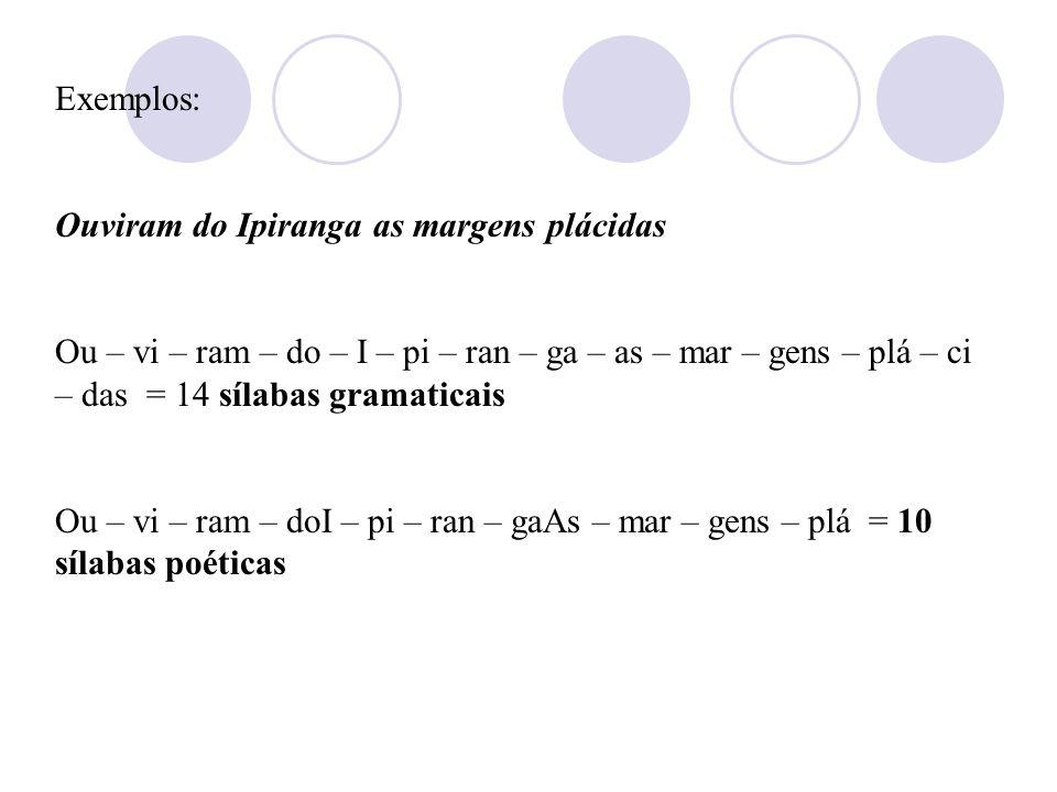 1.Métrica: É o número de sílabas poéticas do verso. Na contagem das sílabas métricas (escansão), observam-se, geralmente, as seguintes normas: A leitu