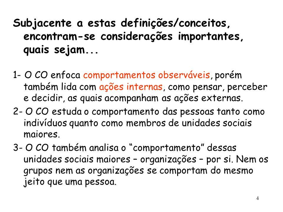 4 Subjacente a estas definições/conceitos, encontram-se considerações importantes, quais sejam... 1- O CO enfoca comportamentos observáveis, porém tam