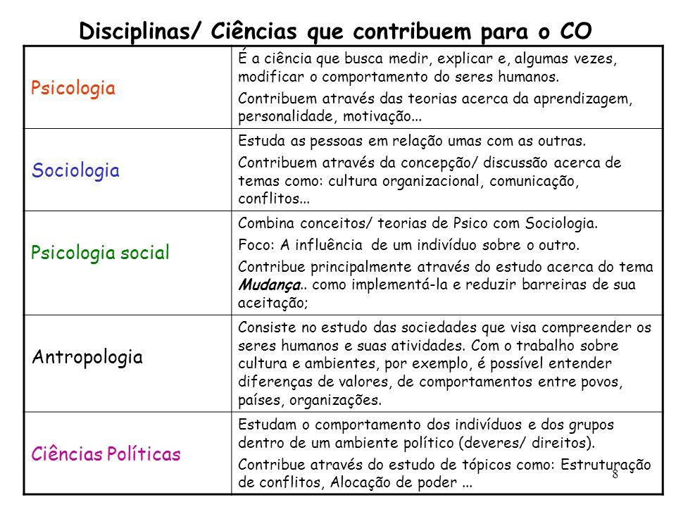 8 Disciplinas/ Ciências que contribuem para o CO Psicologia É a ciência que busca medir, explicar e, algumas vezes, modificar o comportamento do seres