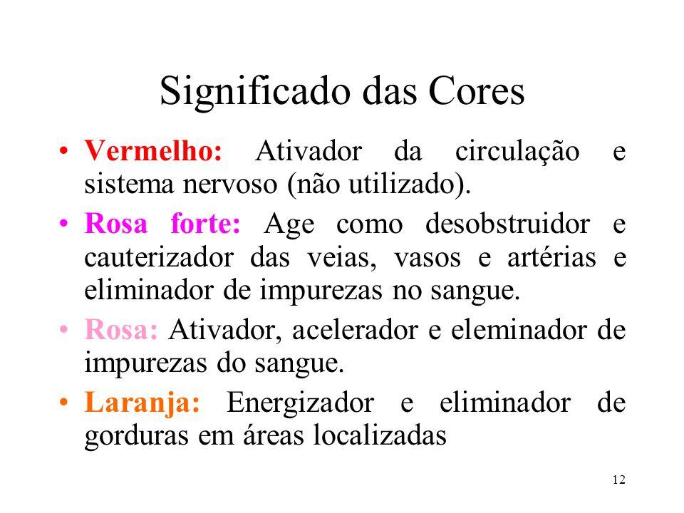12 Significado das Cores Vermelho: Ativador da circulação e sistema nervoso (não utilizado). Rosa forte: Age como desobstruidor e cauterizador das vei
