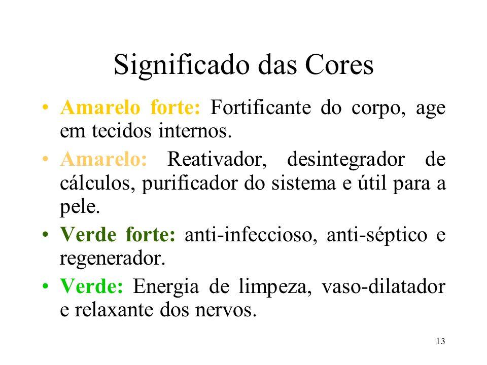 13 Significado das Cores Amarelo forte: Fortificante do corpo, age em tecidos internos. Amarelo: Reativador, desintegrador de cálculos, purificador do