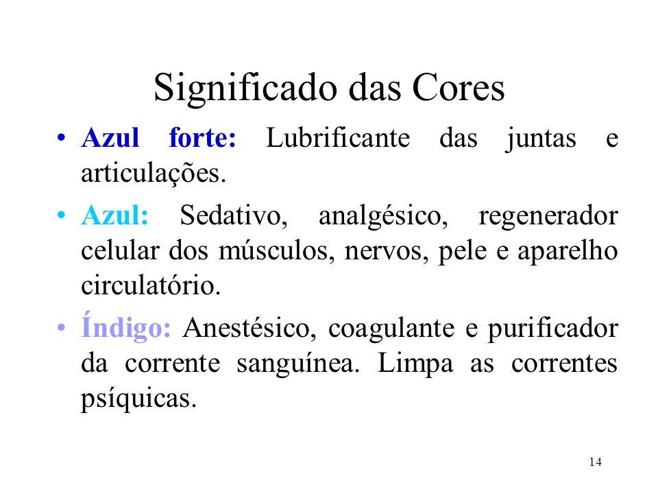 14 Significado das Cores Azul forte: Lubrificante das juntas e articulações. Azul: Sedativo, analgésico, regenerador celular dos músculos, nervos, pel