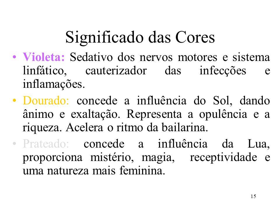 15 Significado das Cores Violeta: Sedativo dos nervos motores e sistema linfático, cauterizador das infecções e inflamações. Dourado: concede a influê