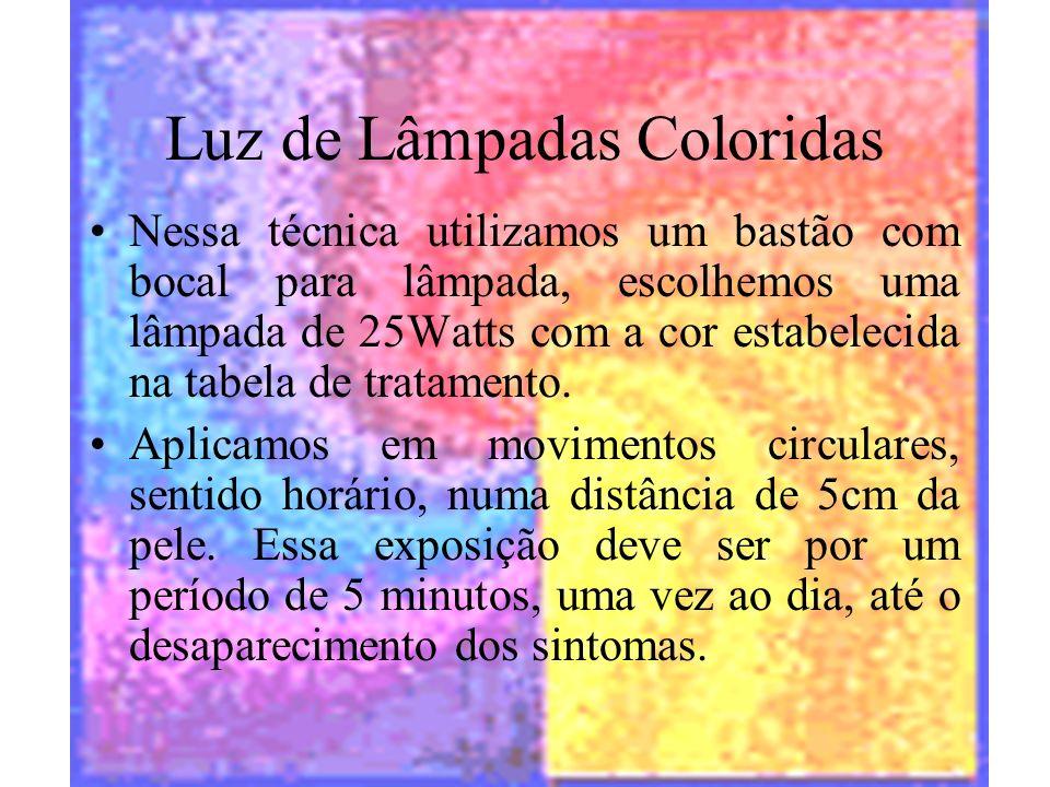 halynelimeira@unisuam.edu.br19 Luz de Lâmpadas Coloridas Nessa técnica utilizamos um bastão com bocal para lâmpada, escolhemos uma lâmpada de 25Watts