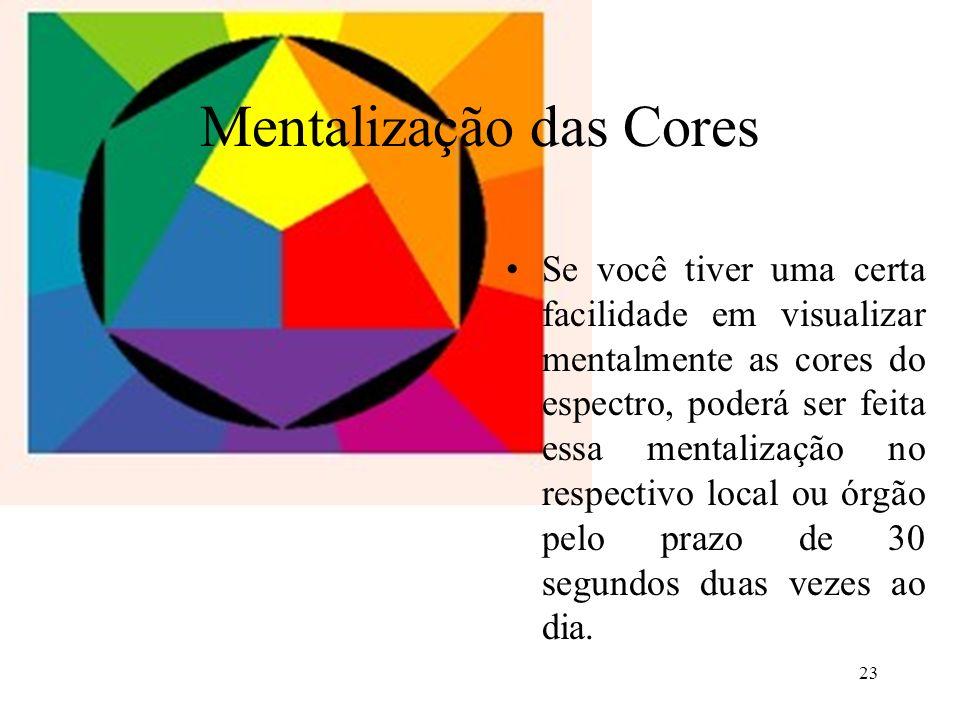 23 Mentalização das Cores Se você tiver uma certa facilidade em visualizar mentalmente as cores do espectro, poderá ser feita essa mentalização no res