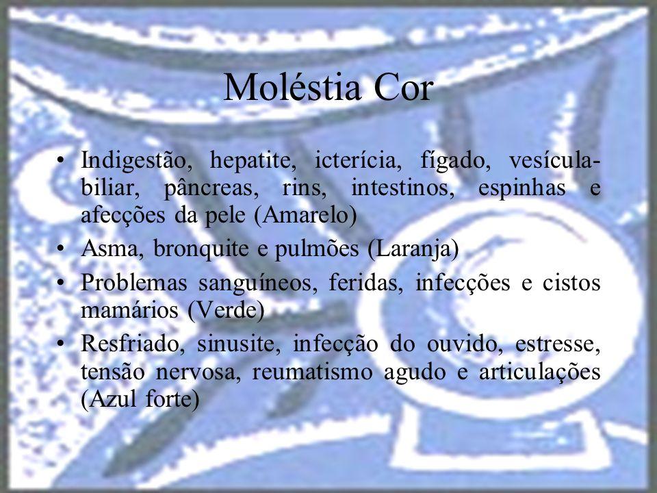 halynelimeira@unisuam.edu.br27 Moléstia Cor Indigestão, hepatite, icterícia, fígado, vesícula- biliar, pâncreas, rins, intestinos, espinhas e afecções