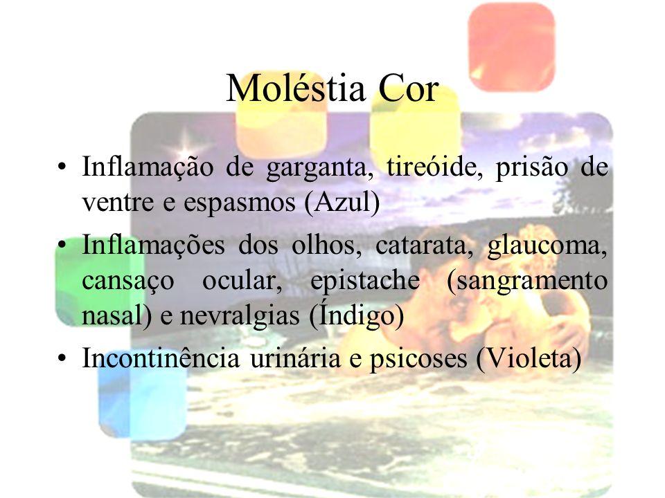 halynelimeira@unisuam.edu.br28 Moléstia Cor Inflamação de garganta, tireóide, prisão de ventre e espasmos (Azul) Inflamações dos olhos, catarata, glau