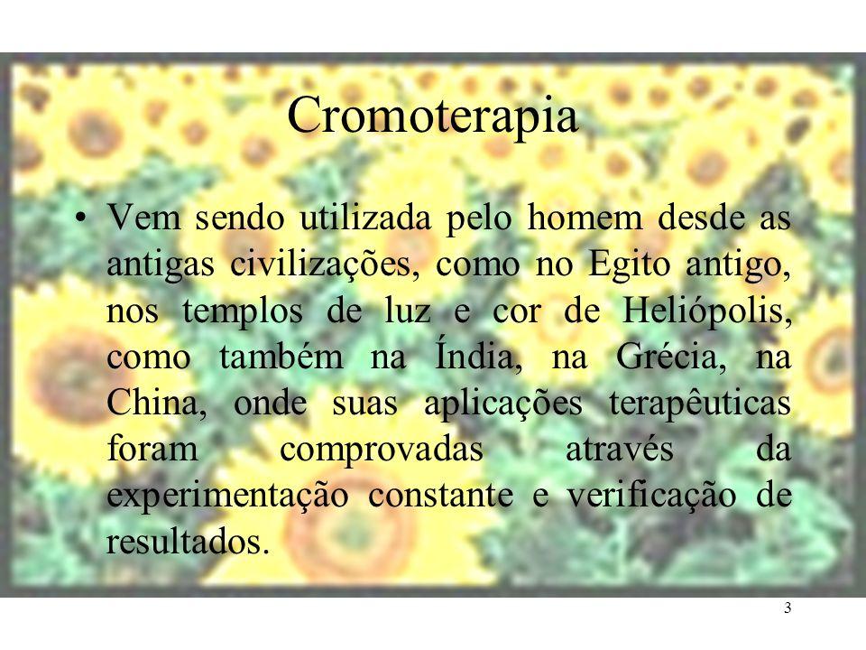 3 Cromoterapia Vem sendo utilizada pelo homem desde as antigas civilizações, como no Egito antigo, nos templos de luz e cor de Heliópolis, como também