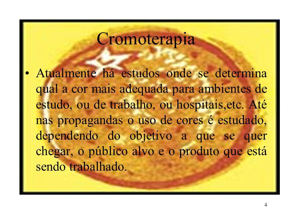 4 Cromoterapia Atualmente há estudos onde se determina qual a cor mais adequada para ambientes de estudo, ou de trabalho, ou hospitais,etc. Até nas pr