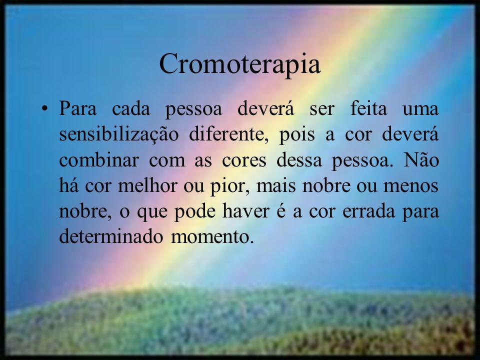 halynelimeira@unisuam.edu.br7 Cromoterapia Para cada pessoa deverá ser feita uma sensibilização diferente, pois a cor deverá combinar com as cores des